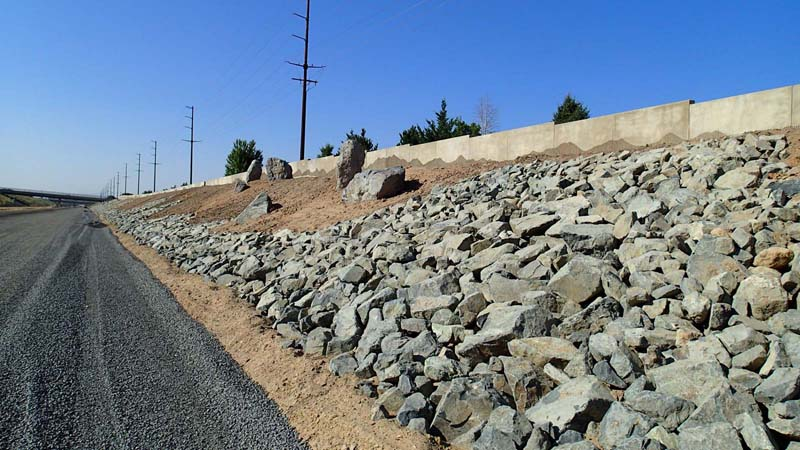 Carson City Freeway alignment, rock & soudwall