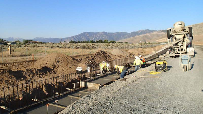 Carson City Freeway concrete footing for soundwalls