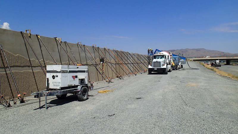 Carson City Freeway concrete placement in precast soundwall