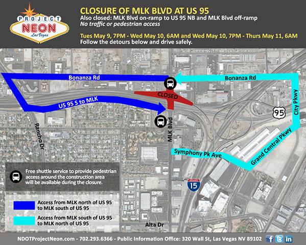 Martin Luther King Blvd. at U.S. Highway 95 Nightly Closures in Las on las vegas freeway map, las vegas walking map, las vegas hotel map printable,