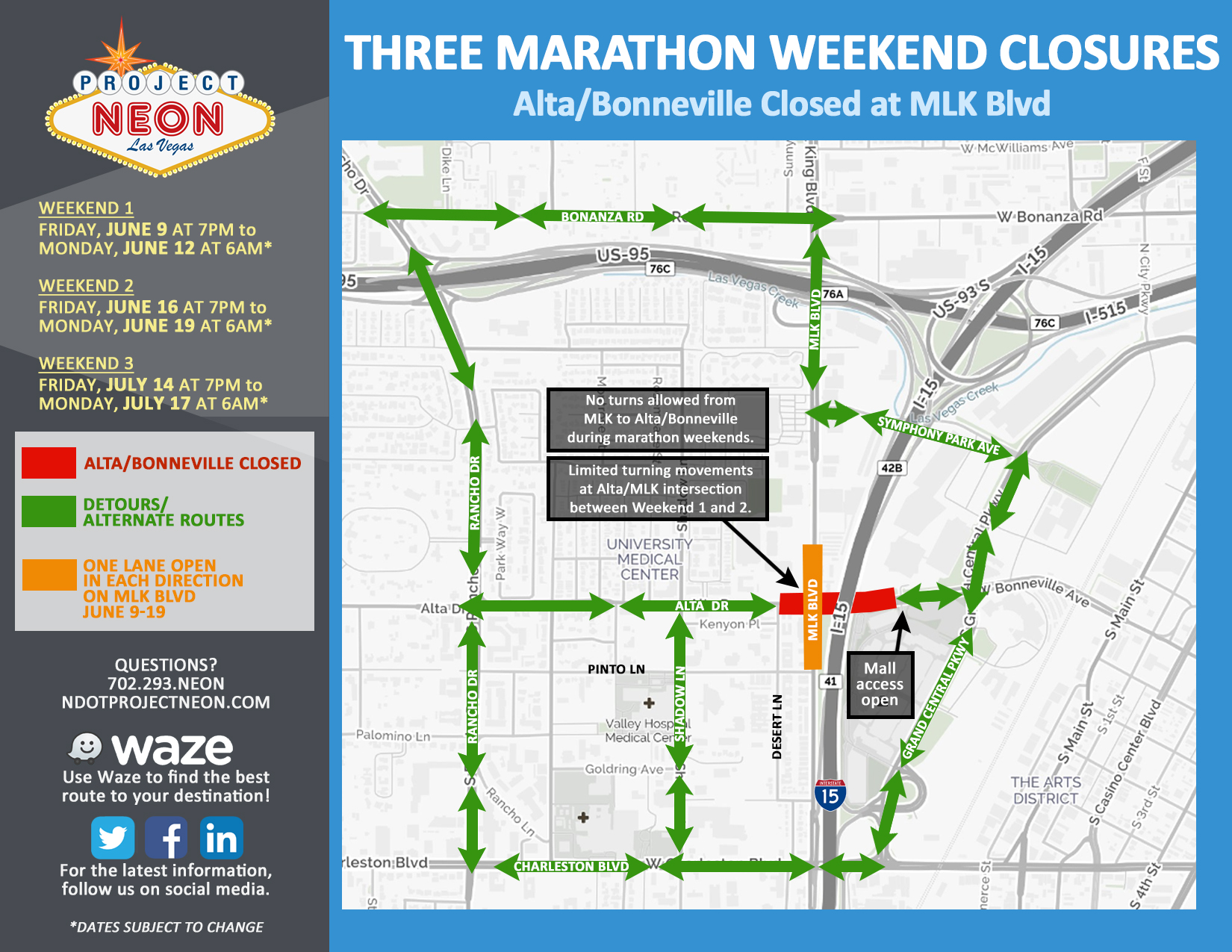 Alta Marathon Weekend Closures