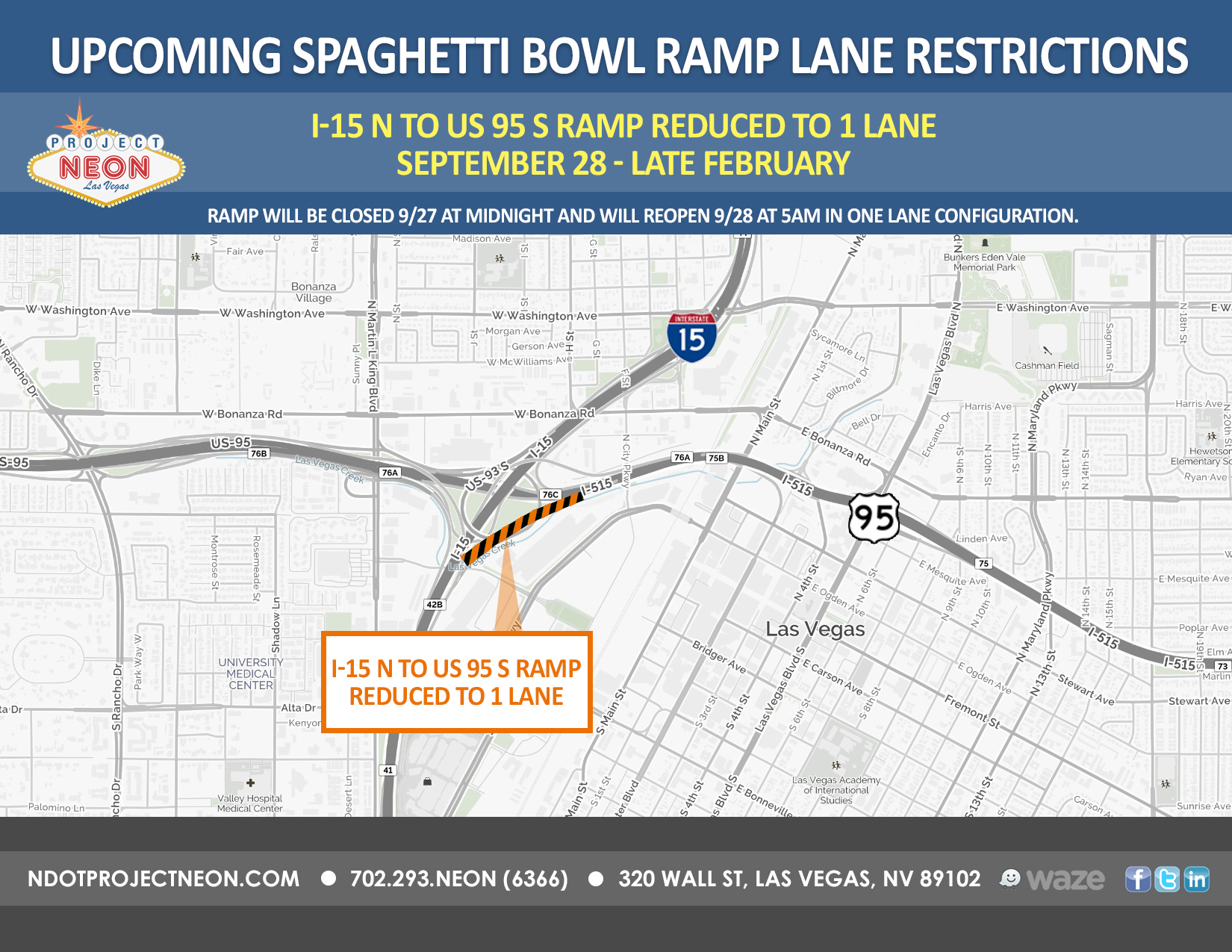 I-15N to US 95S Ramp Lane Reduction