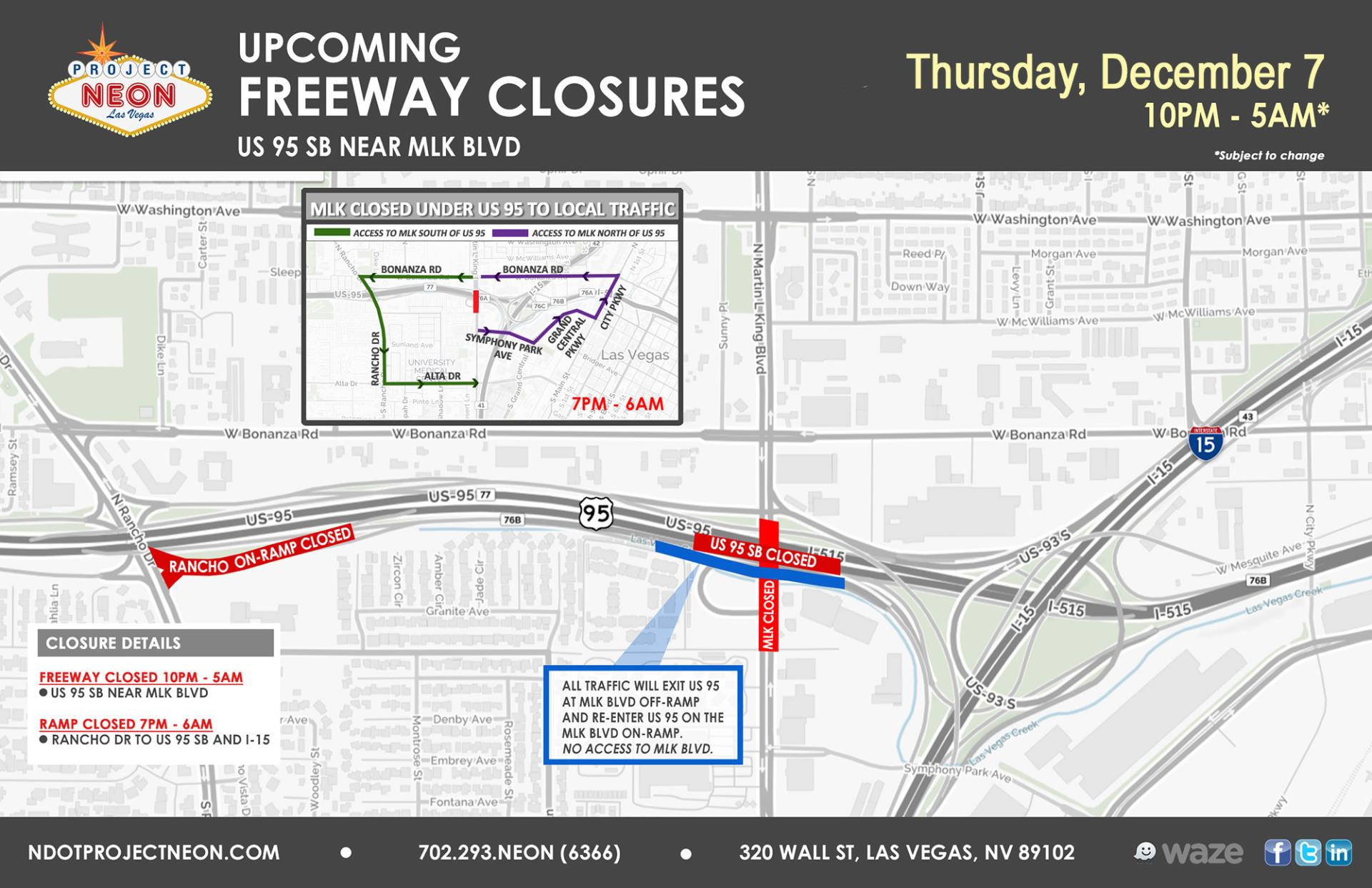 US 95 SB Closure Dec 7