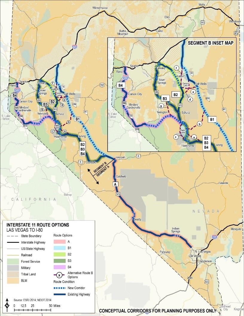 Interstate 11 Map Future I 11 Alternatives Analysis   Las Vegas Valley to I 80  Interstate 11 Map