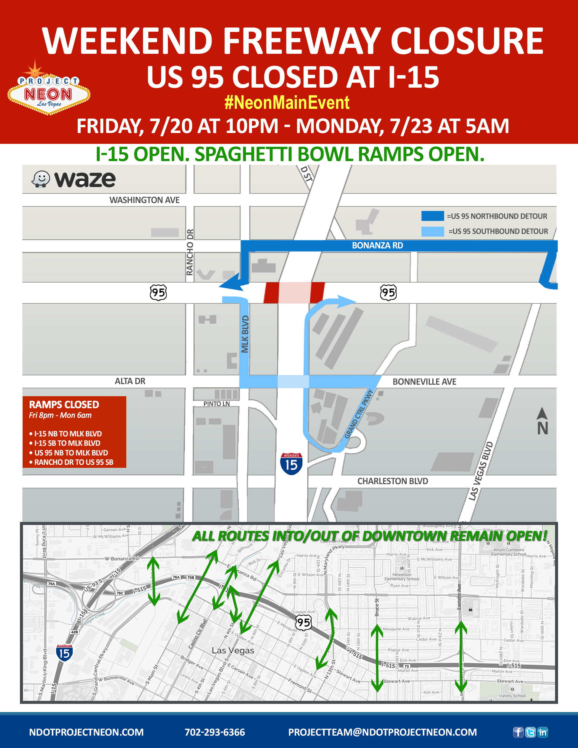 U S  Highway 95 Full Closure at I-15 This Weekend in Downtown Las