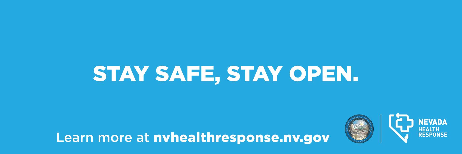 """Blue background with white letters that read, """"Stay Safe, Stay Open"""""""