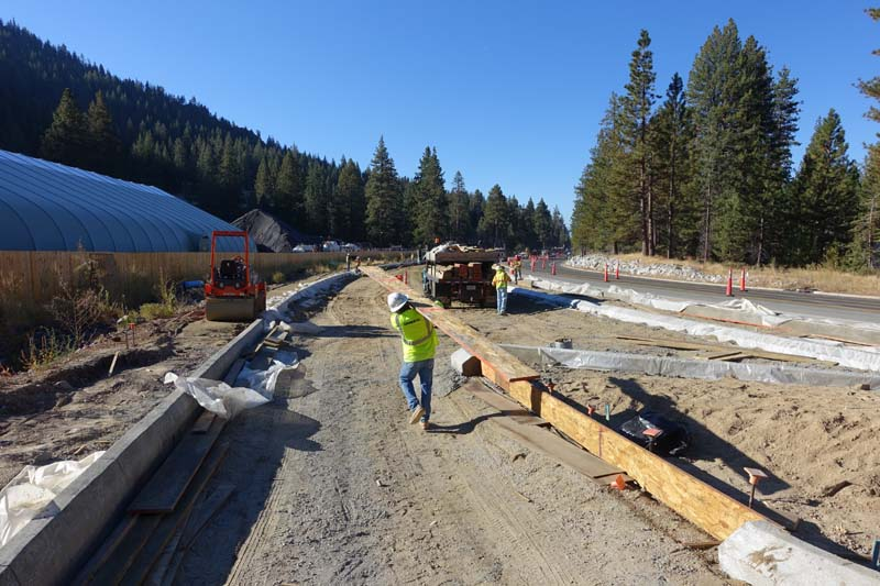 SR 28 Curb Form Installation