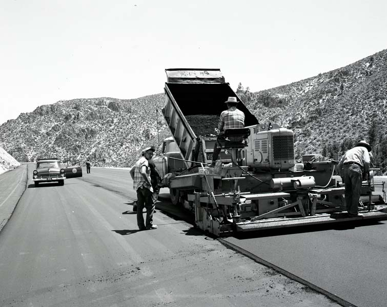A crew works to resurface Clear Creek, US 50 between Carson City and Lake Tahoe in 1960.