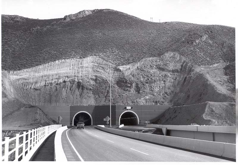 Looking east at the completed Carlin tunnels, 1975.