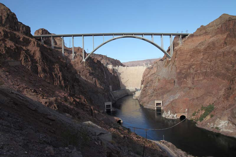 The Mike O'Callaghan-Pat Tillman Memorial Bridge spans the Colorado River between Arizona and Nevada. It opened to vehicle traffic on October 19, 2010.