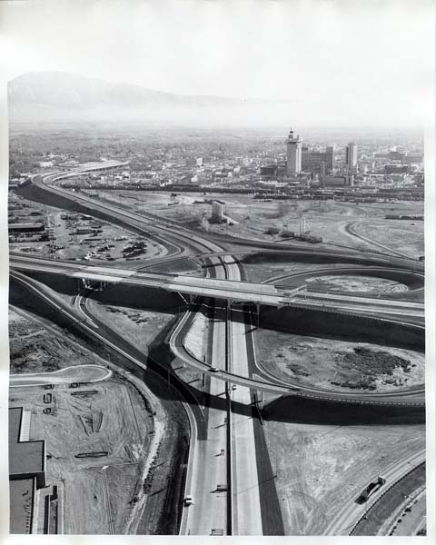 A bird's-eye view of the Las Vegas spaghetti bowl in the early 1970's.