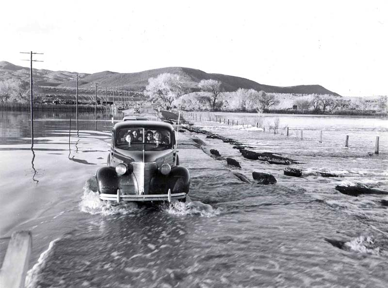 Water covered many Reno roads during the flood of 1950.