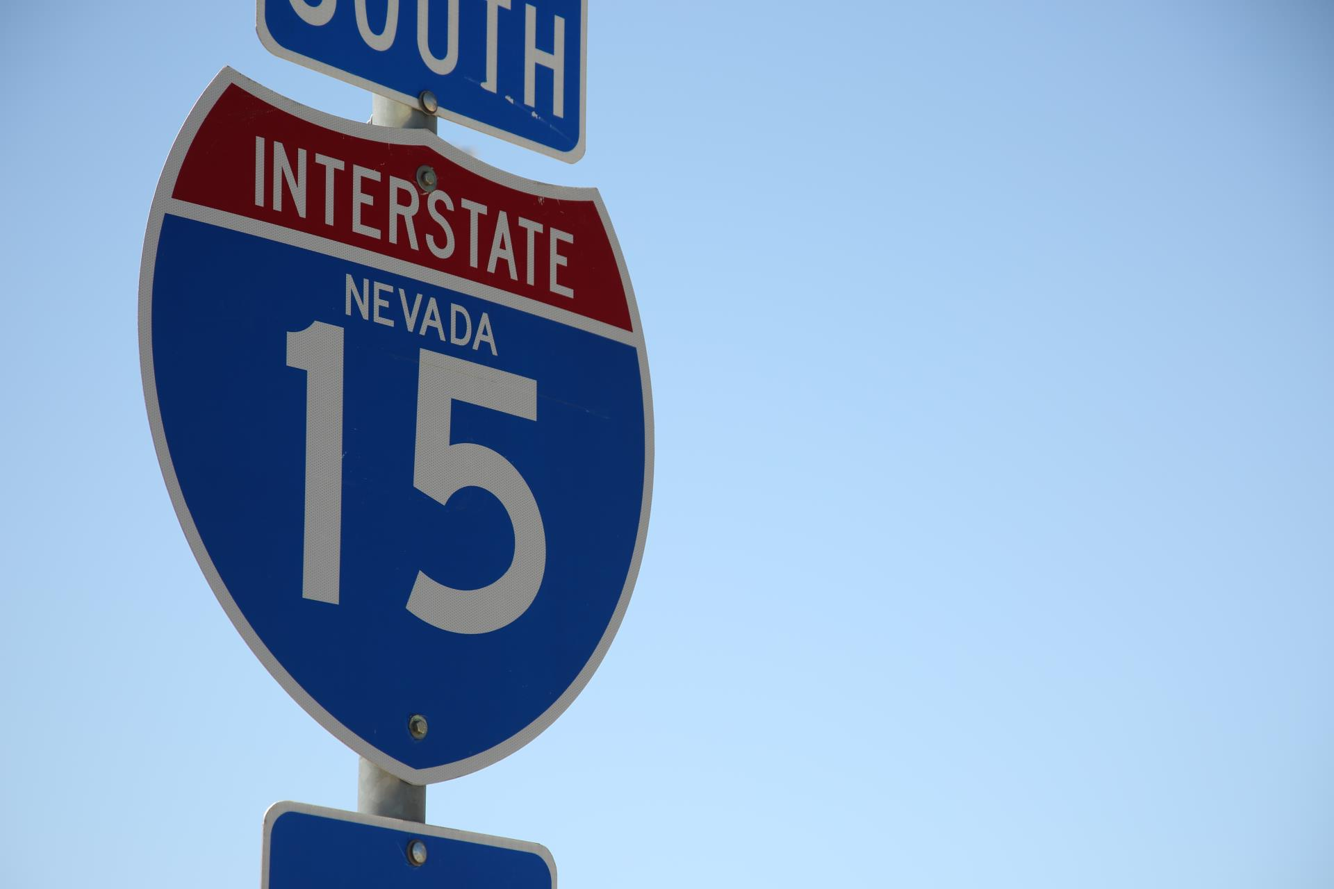 A photo of the Interstate 15 sign in Nevada