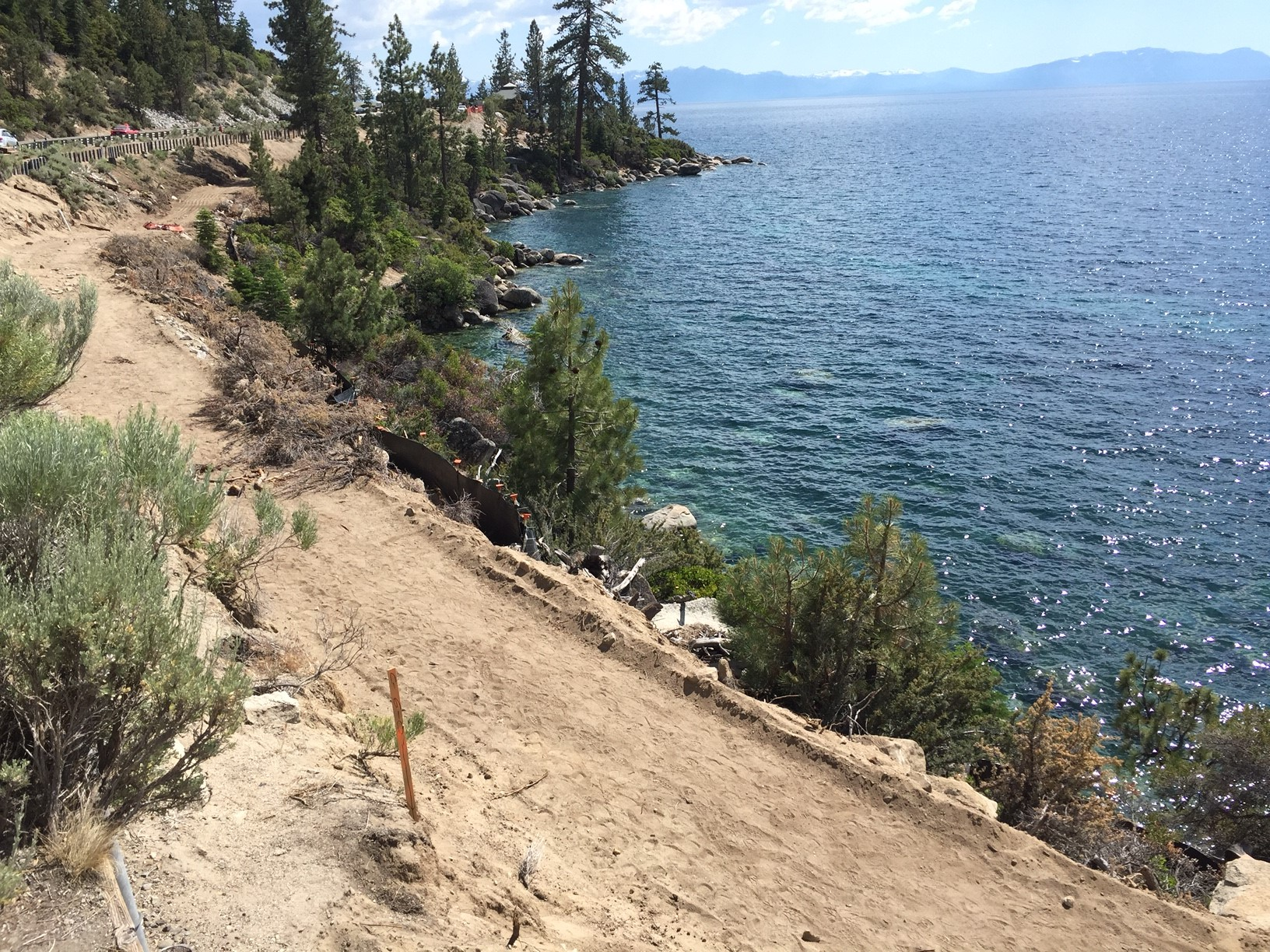 Path grading north of Memorial Point