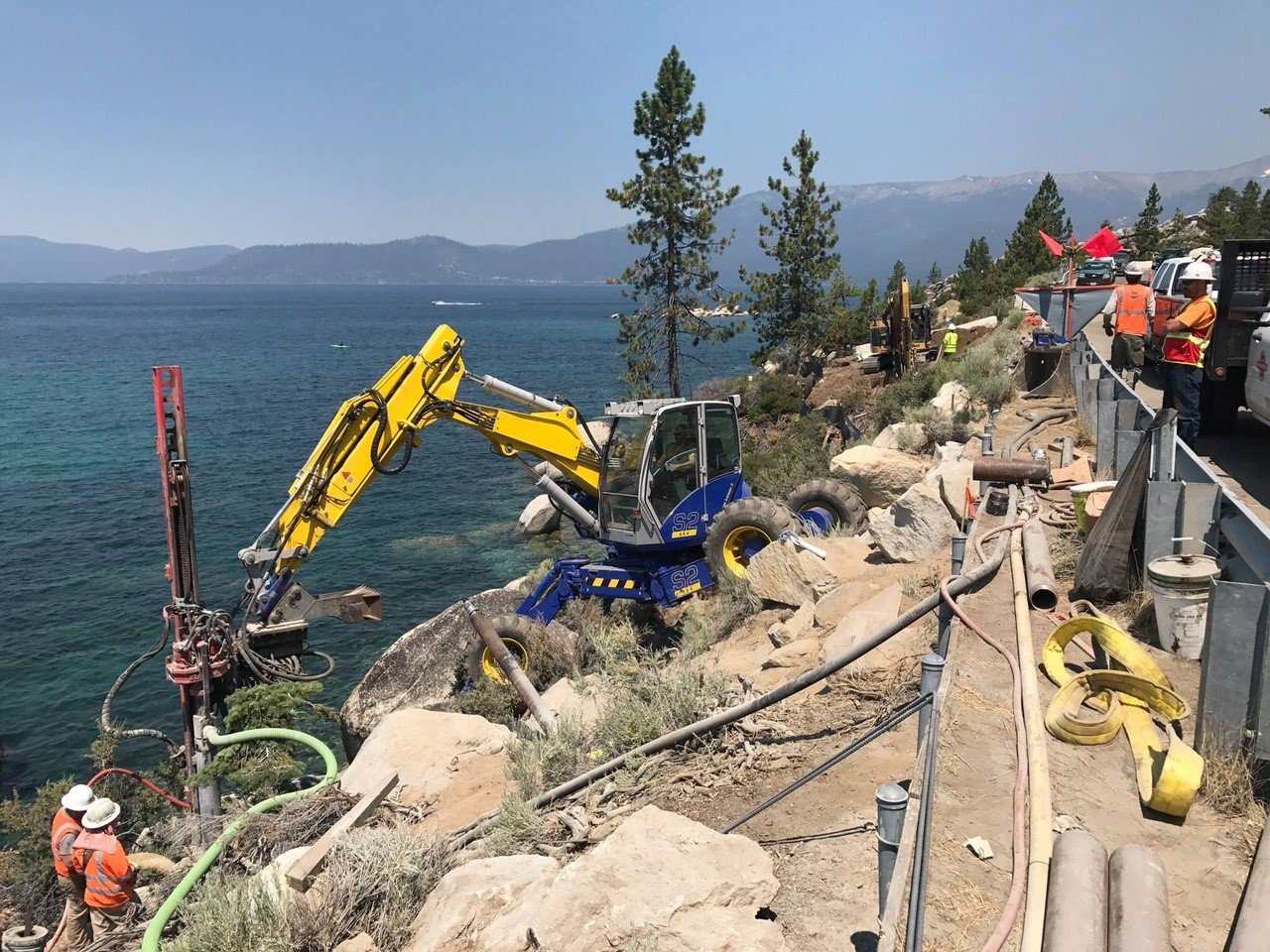 Spider Excavator - Bridge Foundation Construction near Sand Harbor2