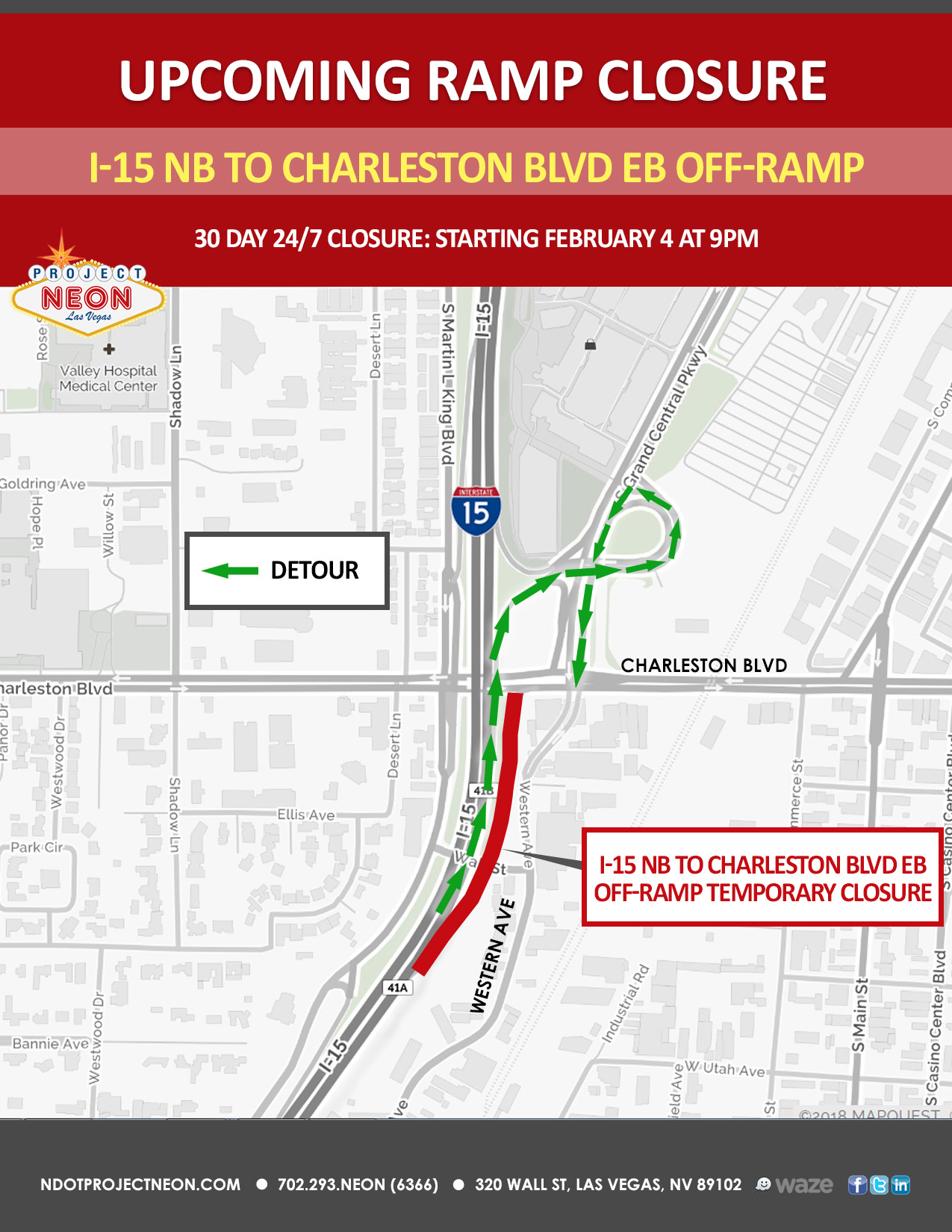 I-15 North to Charleston East Offramp in Las Vegas Closing