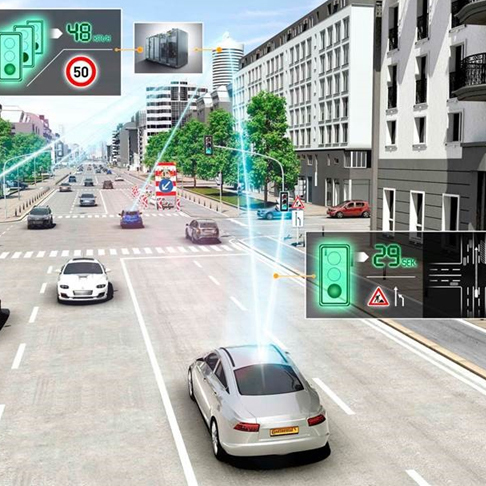 Audi Countdown to Green Graphic - Cars Connected to Traffic Signals
