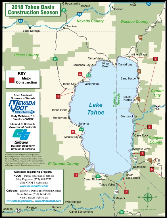 Review this map to learn about construction in the Tahoe Basin during the 2018 Construction Season.