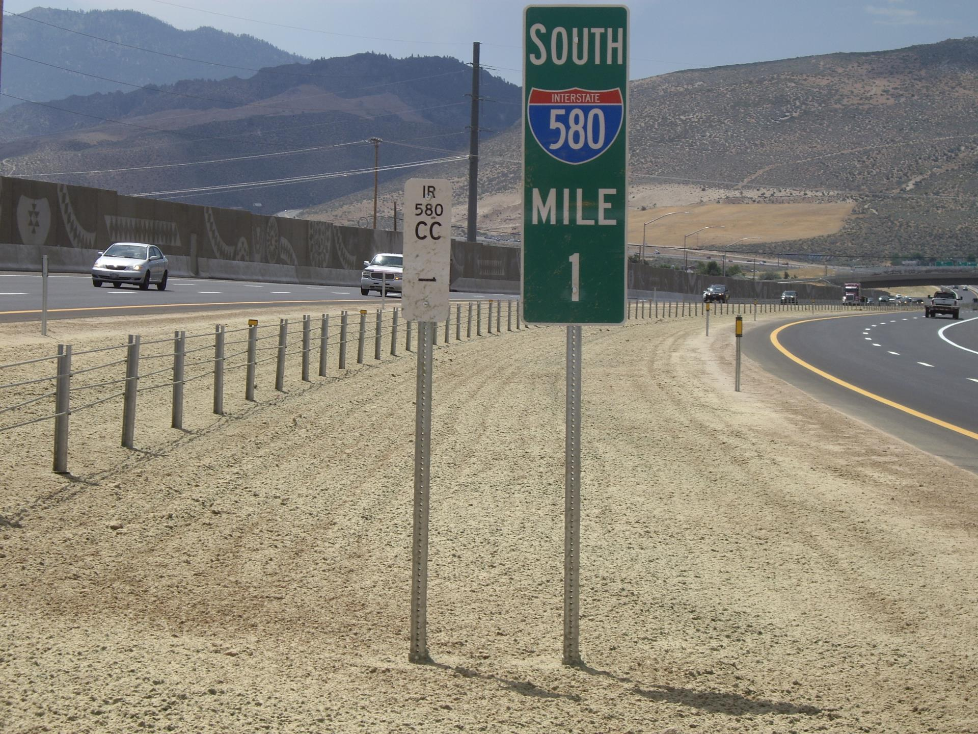 Mile Marker 1 on Interstate 580 in Carson City