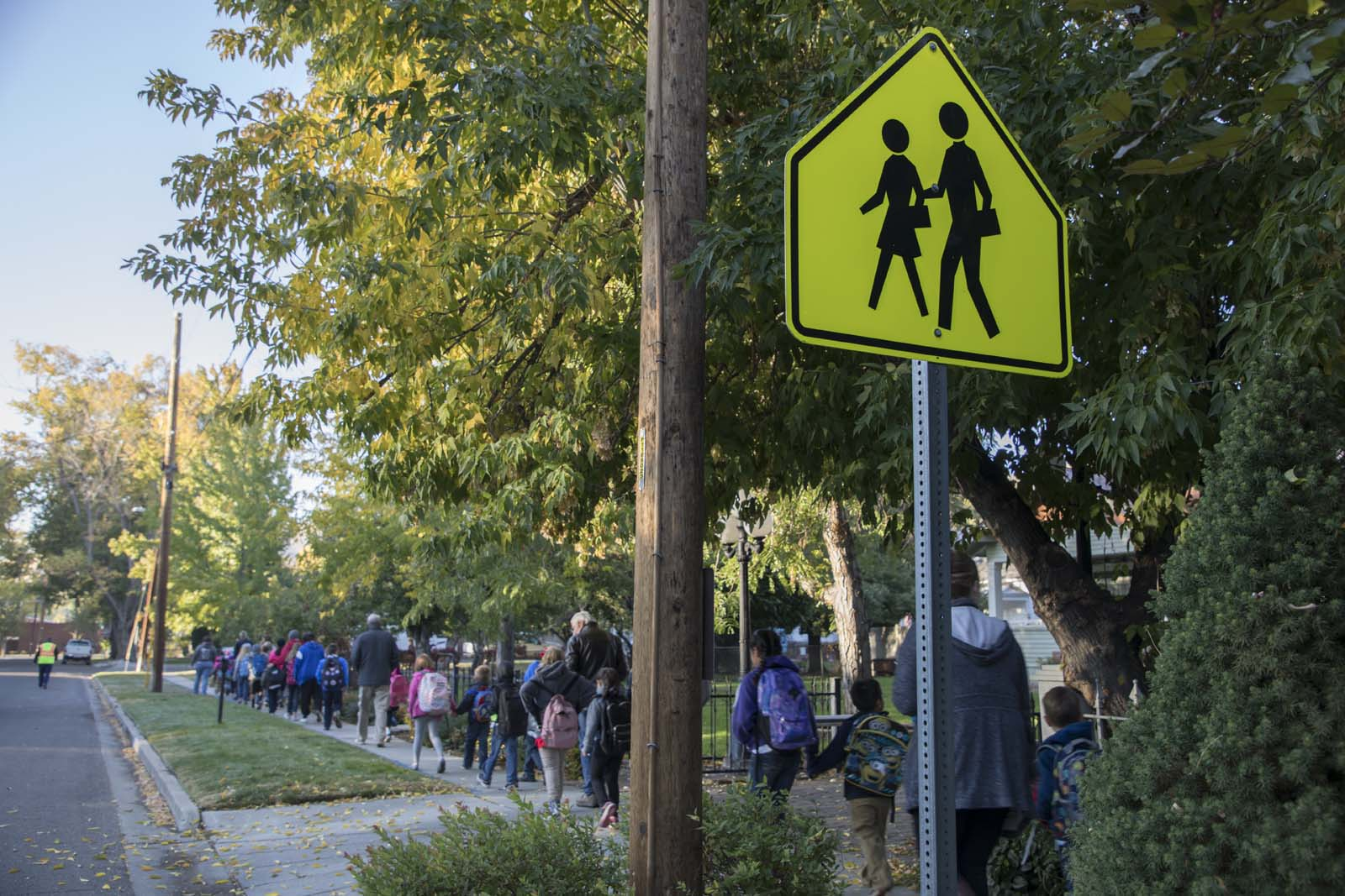 Families walking to school in Carson City, Nevada