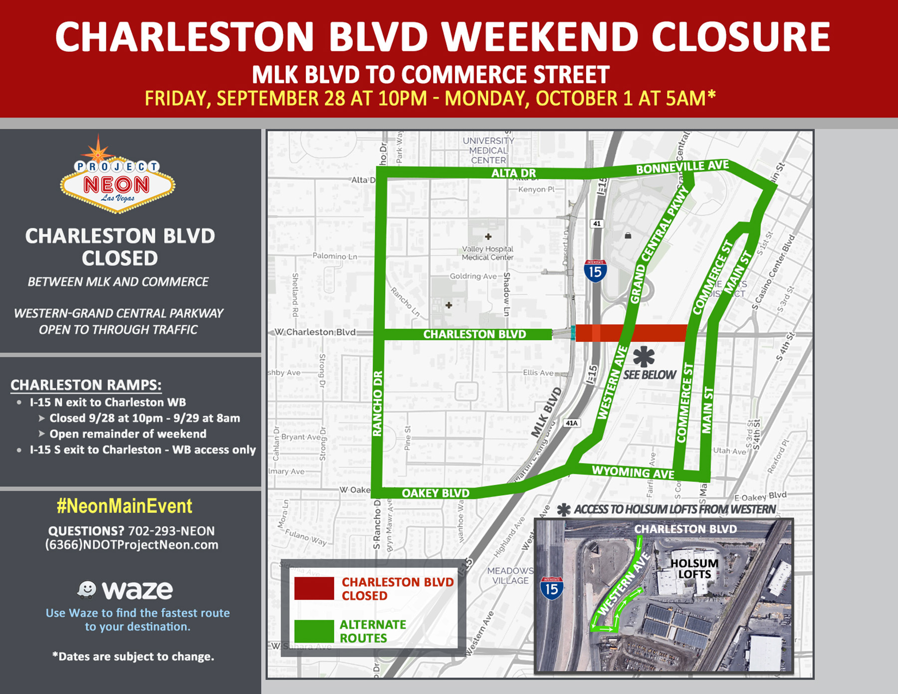 Charleston Closed, MLK to Commerce, 9.28.18 to 10.1.18