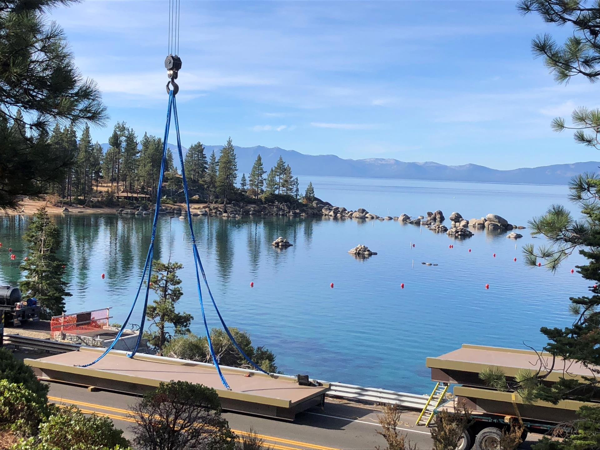 The bridge deck installation on State Route in Lake Tahoe