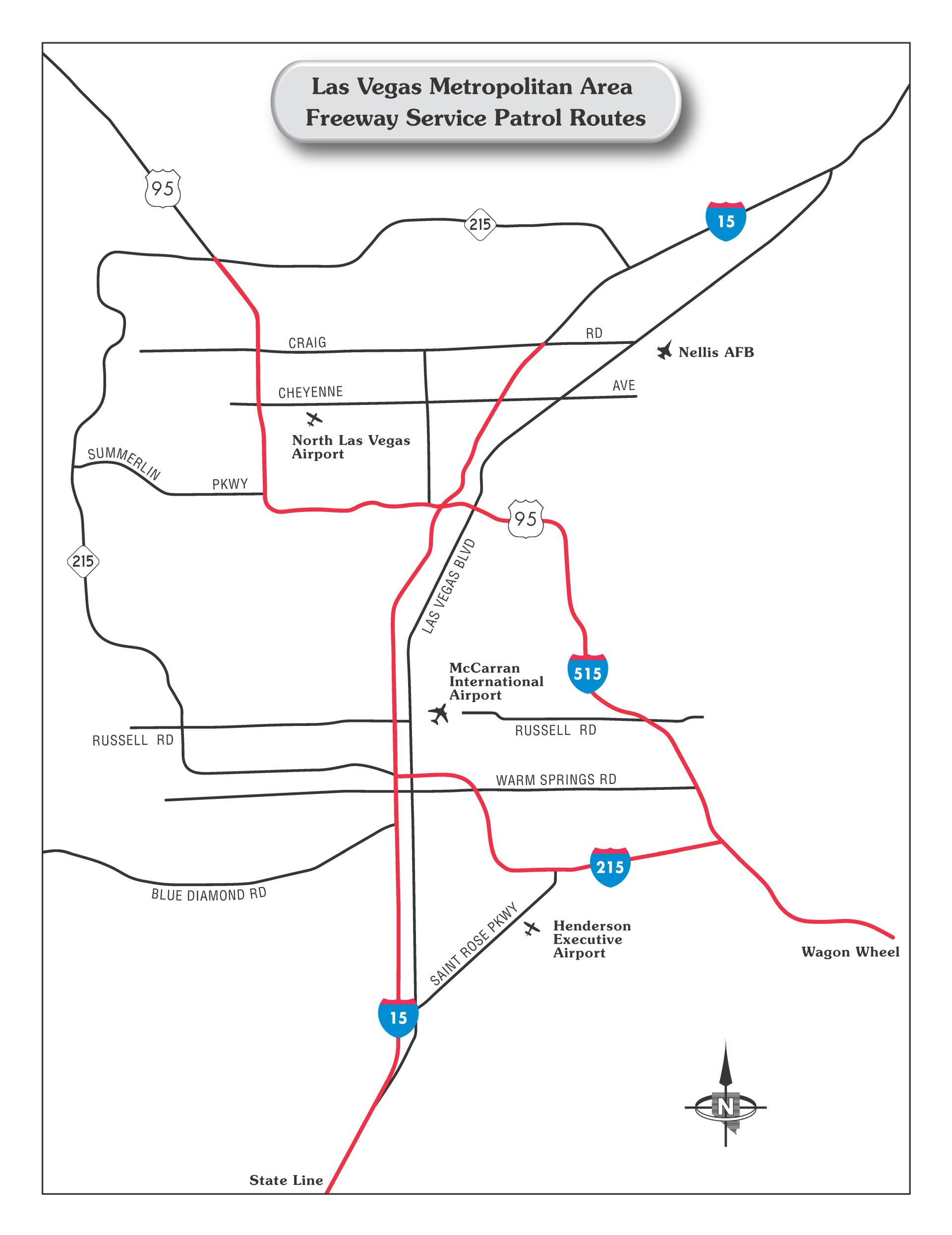 A map of the Freeway Service Patrol route in Las Vegas