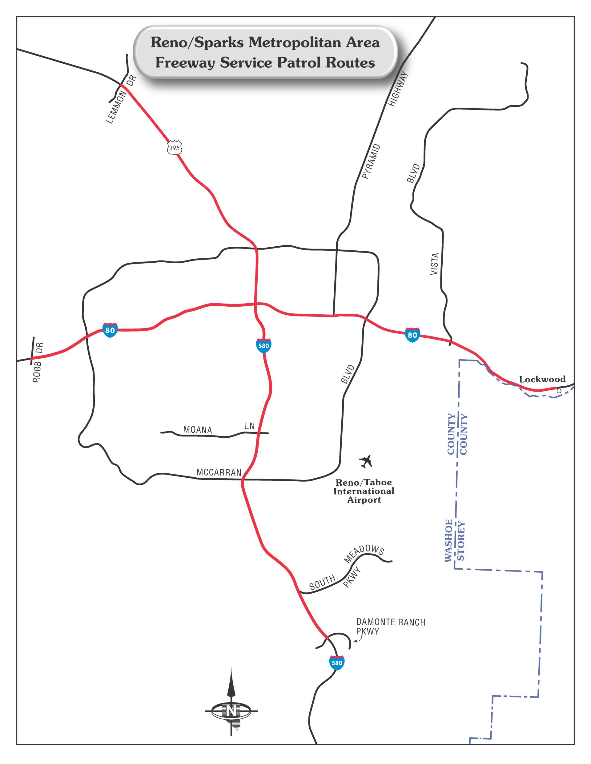 A map of the Freeway Service Patrol route in Reno