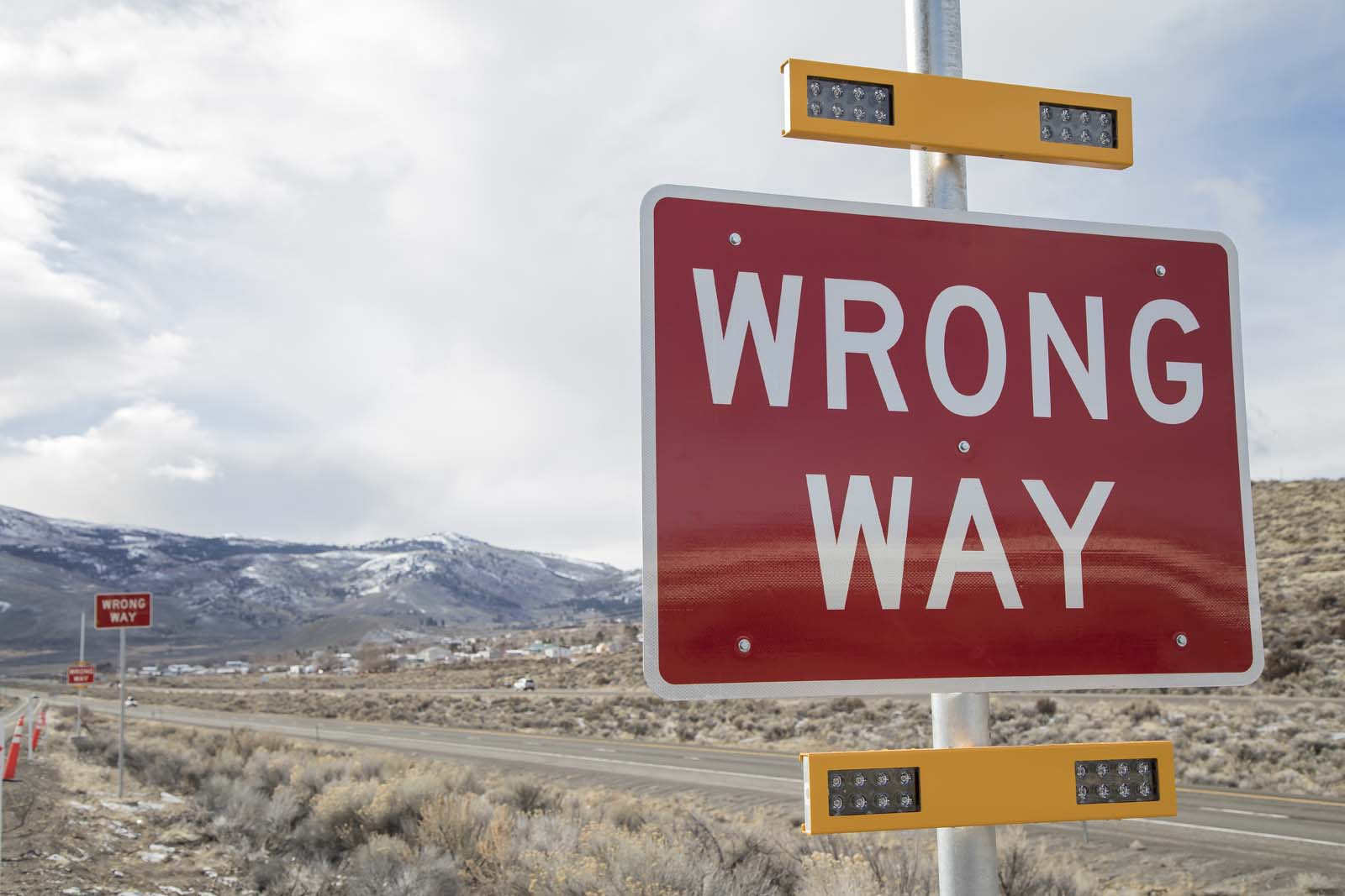 A Wrong Way Alert Sign