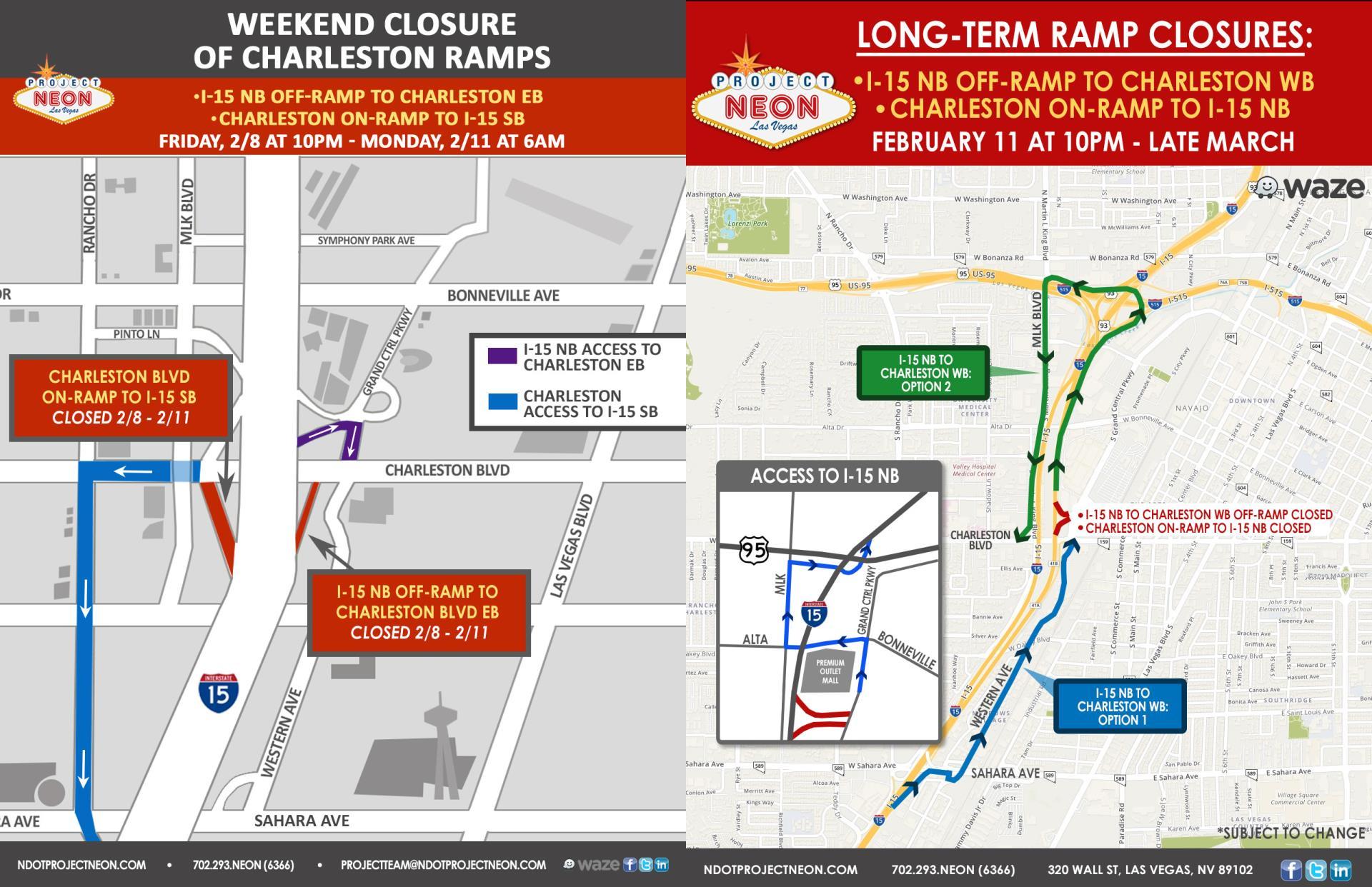 Charleston Blvd  Freeway Ramp Closures Begin Feb  8 in Las