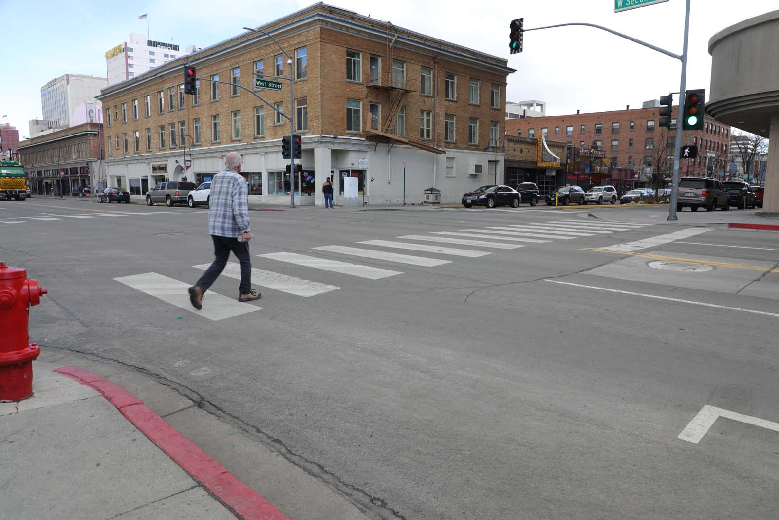 A crosswalk along Second Street in Reno