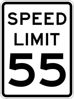 A graphic of a 55 mile per hour speed limit sign