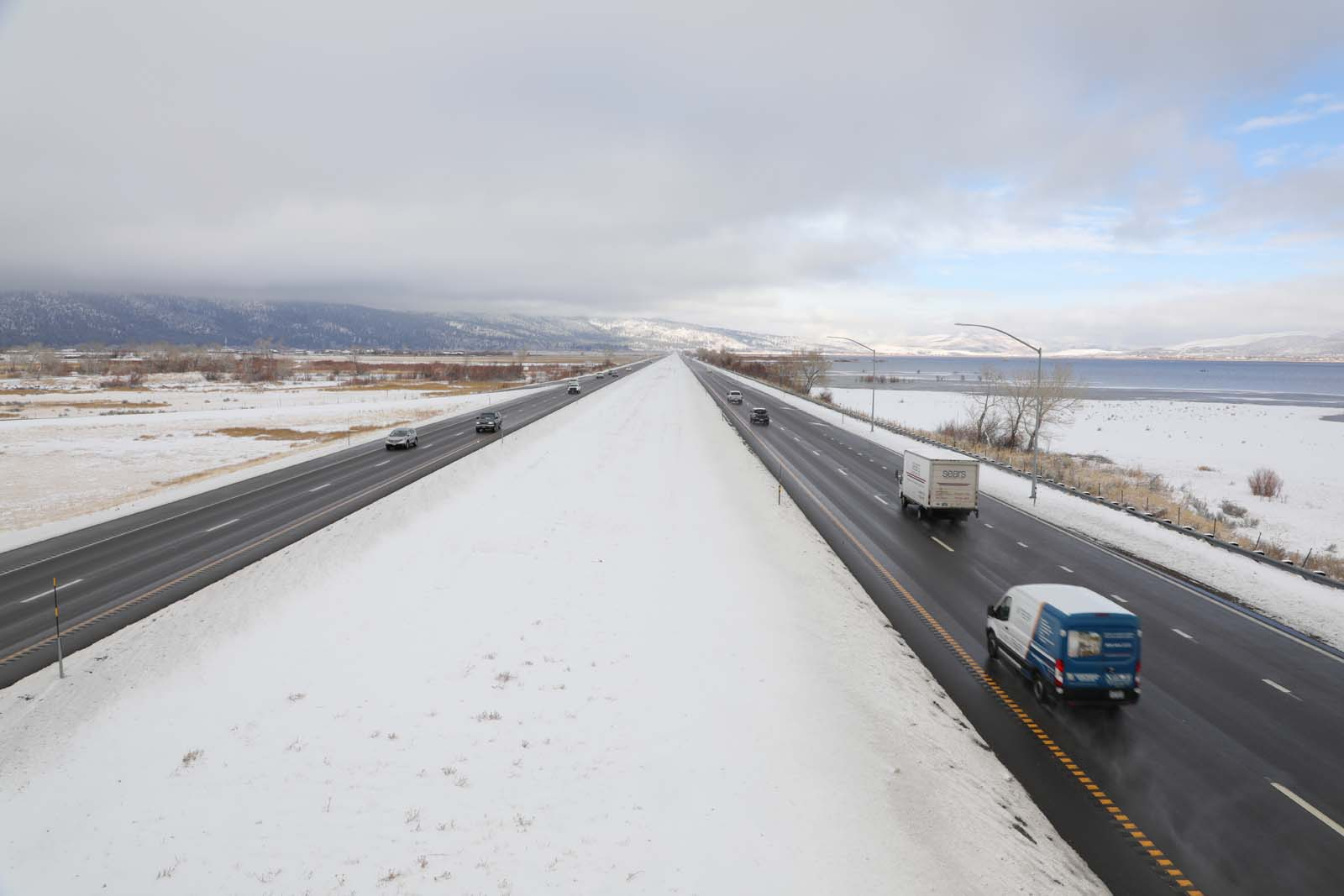 A photo of cars driving along Interstate 580 during winter