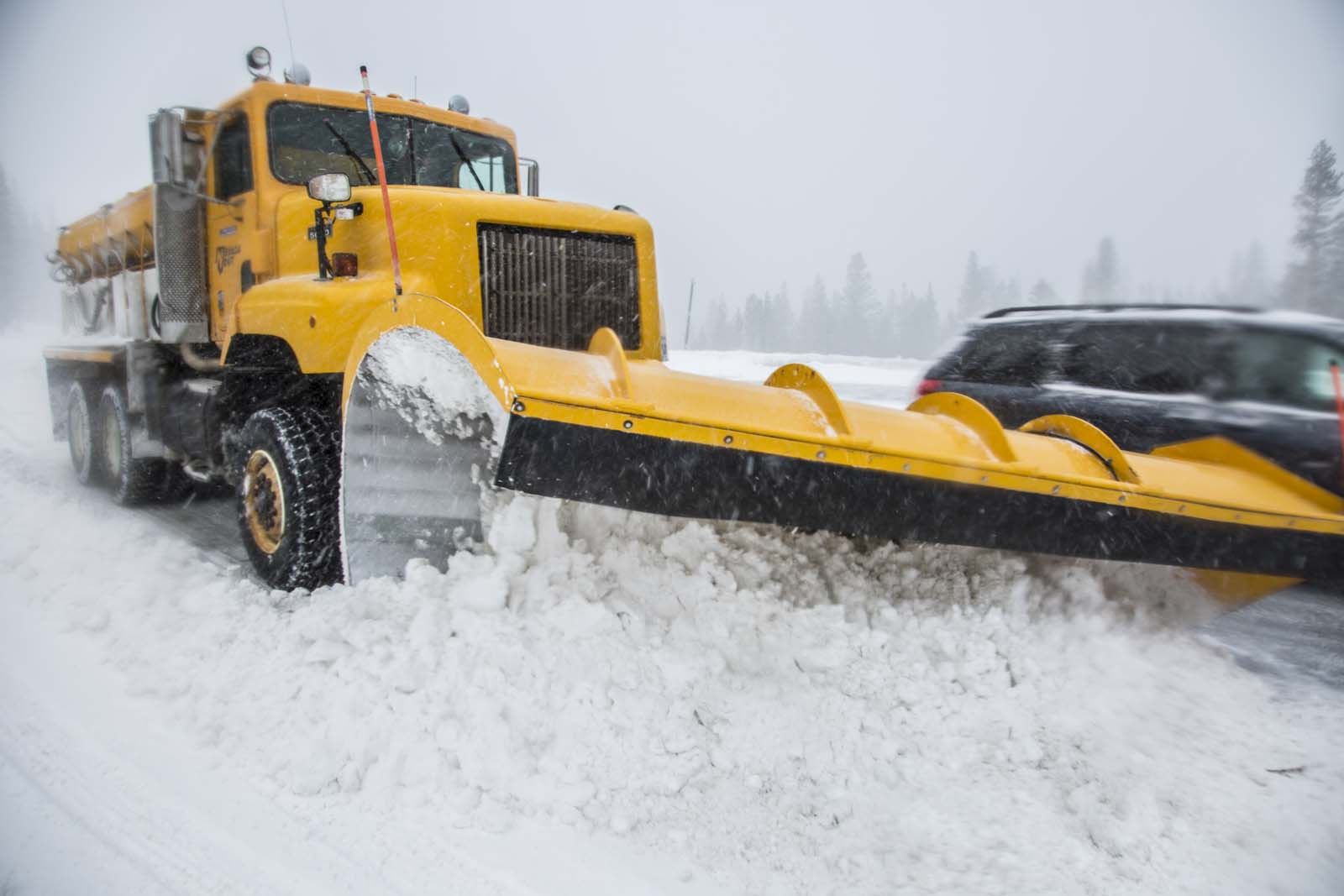 An NDOT snow plow on Mount Rose Highway