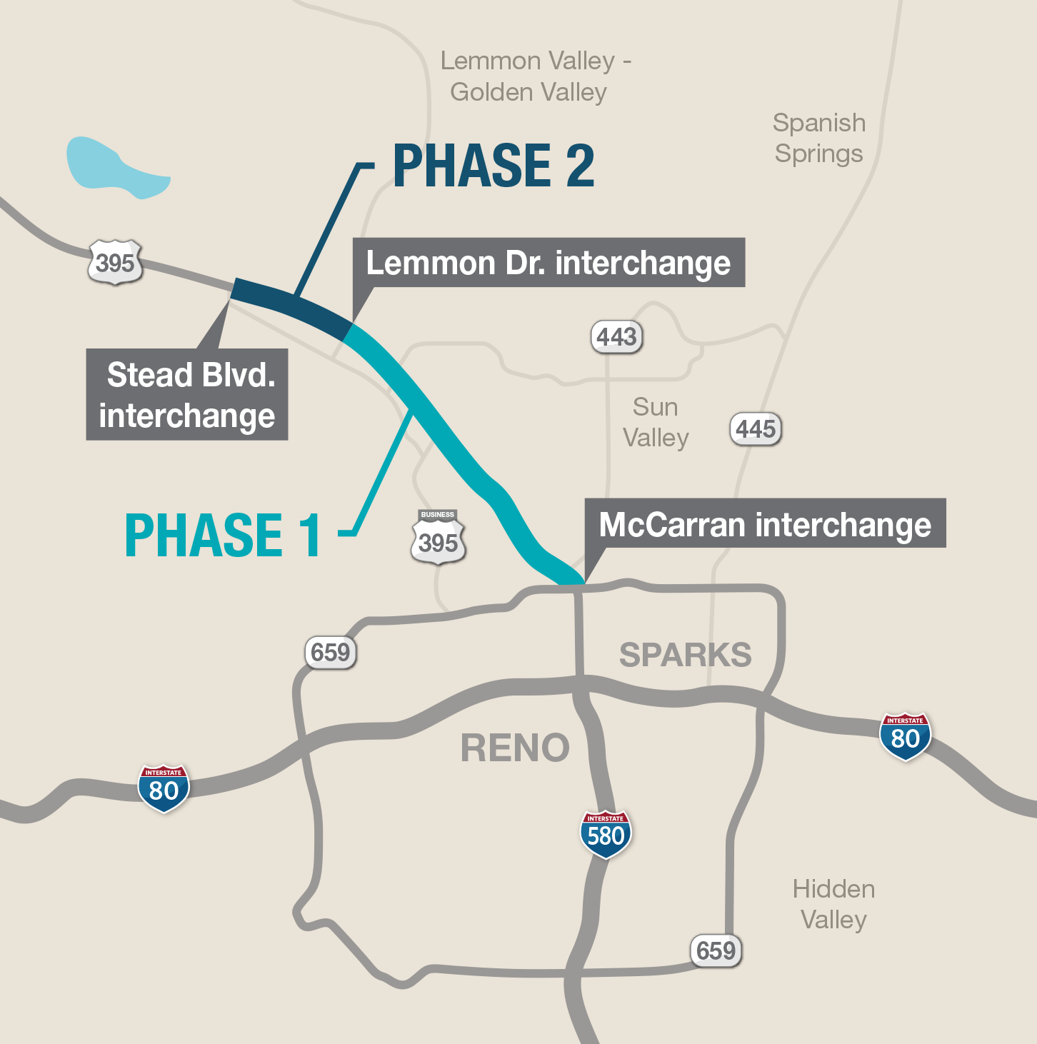 A map of U.S. 395 depicting the first and second phases of the North Valleys Project