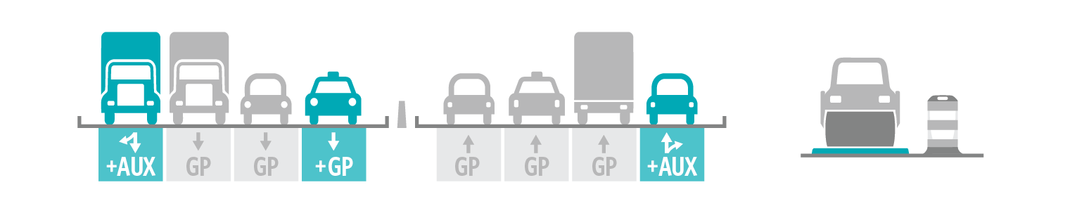 Graphic of teal and gray cars on road lanes.