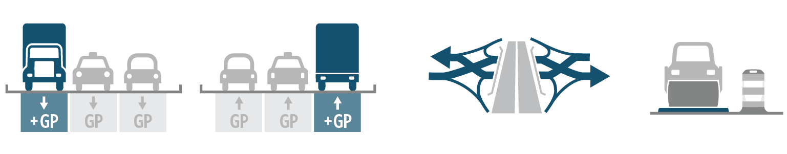Gray and teal graphics showing lane changes to project.