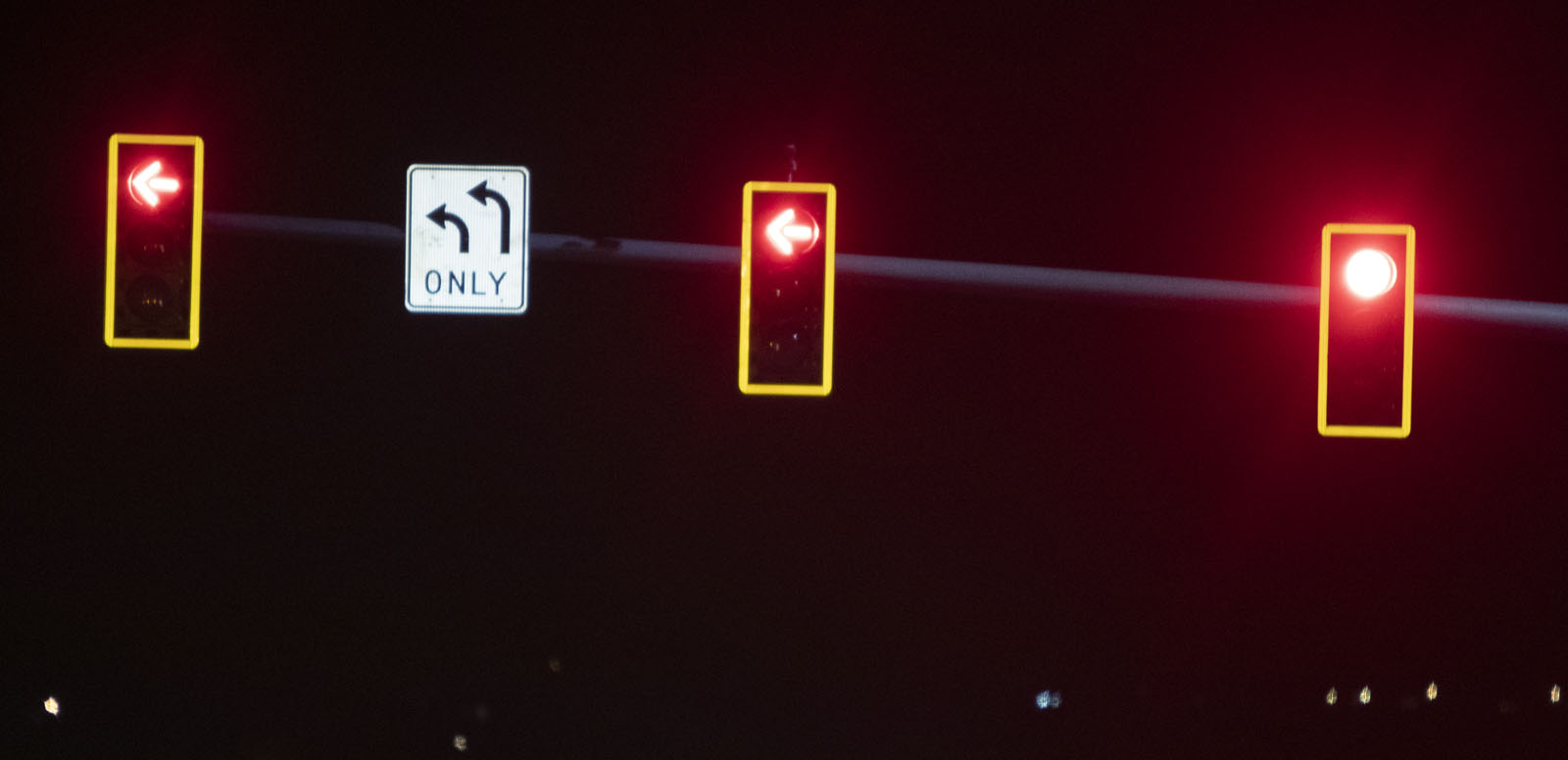 Three Traffic Signals with Retroreflective Yellow Borders