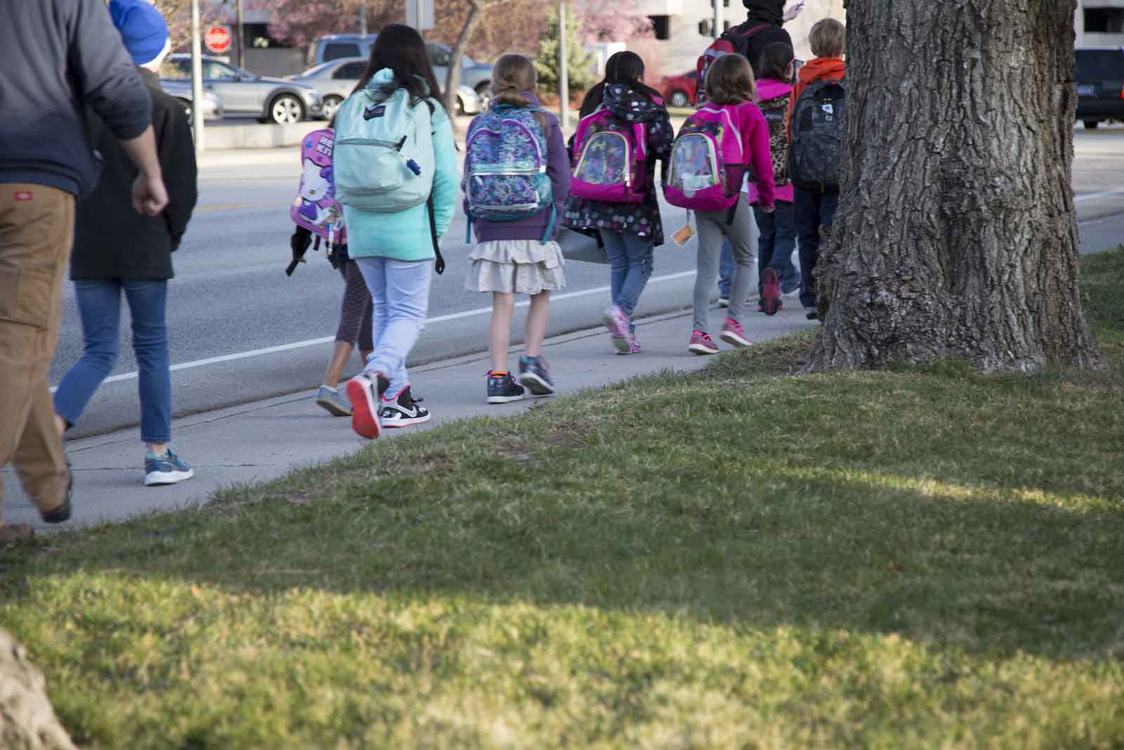 Kids with backpacks walk on the sidewalk next to a grassy area