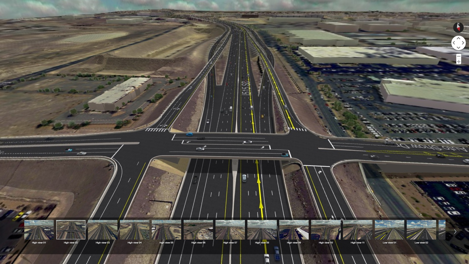 A screenshot of the I-515/215 Beltway Lane Re-Striping project virtual tour